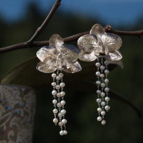 Orchids Earrings With Pearls